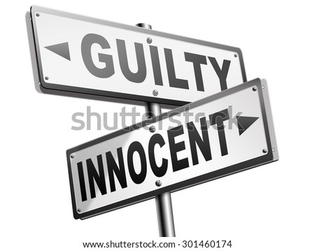 innocent or guilty presumption of innocence until proven guilt as charged in a fair trial for crime suspect  - stock photo