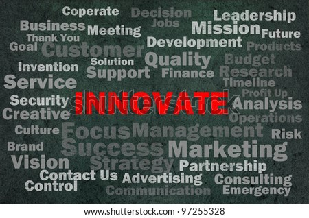 Innovate concept with other related words on retro background - stock photo