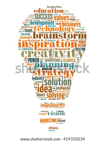 Innovation bulb, word cloud concept on white background.