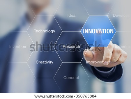 Innovation concept presented by a consultant in management on webinar screen - stock photo