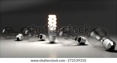 Innovation. 3D. Lights - stock photo
