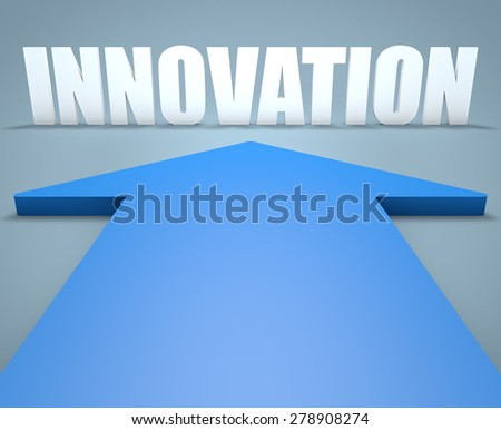 Innovation - 3d render concept of blue arrow pointing to text. - stock photo