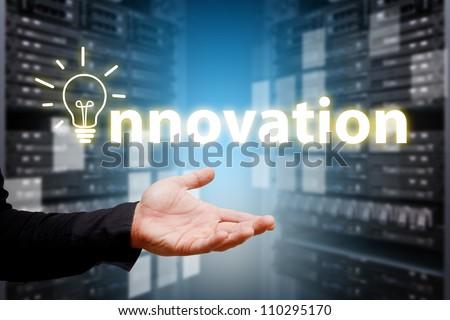 Innovation from programmer in data center room - stock photo