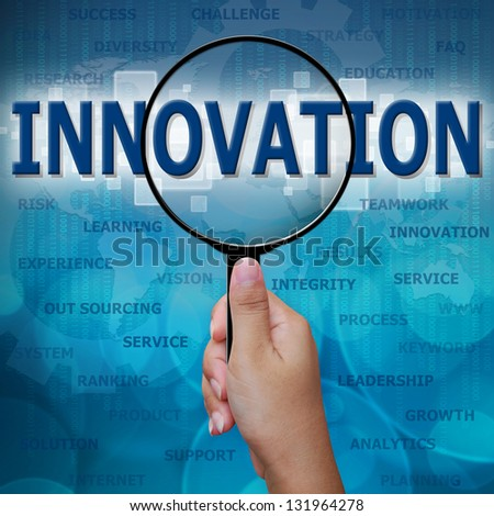 INNOVATION in Magnifying glass on blue background