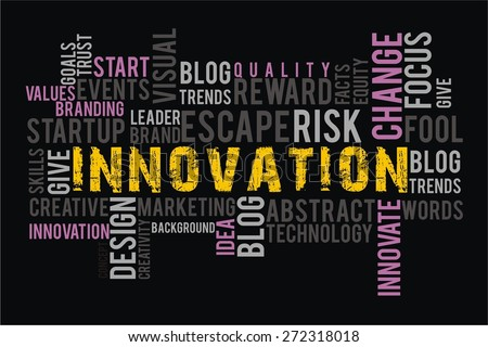 INNOVATION in words cloud collage with black background color - stock photo