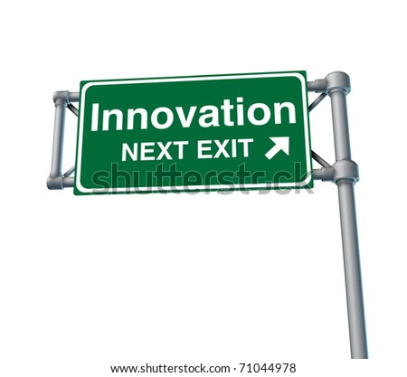 innovation invention inventive creative street road freeway sign high way sky green signage - stock photo