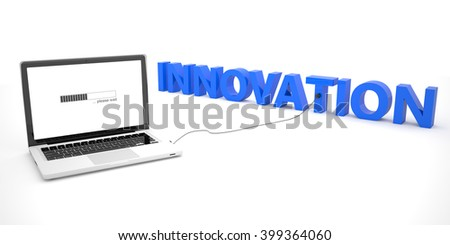 Innovation - laptop notebook computer connected to a word on white background. 3d render illustration. - stock photo