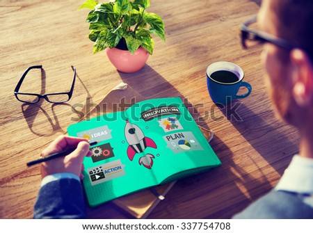 Innovation Plan Planning Ideas Action Launch Start Up Success Concept - stock photo