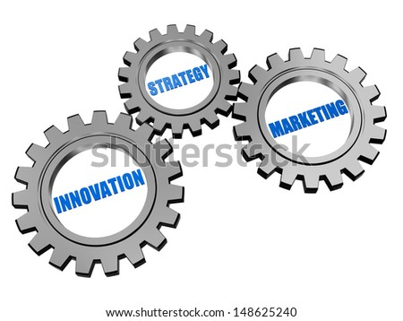 innovation, strategy, marketing - words in 3d silver grey gearwheels, business concept