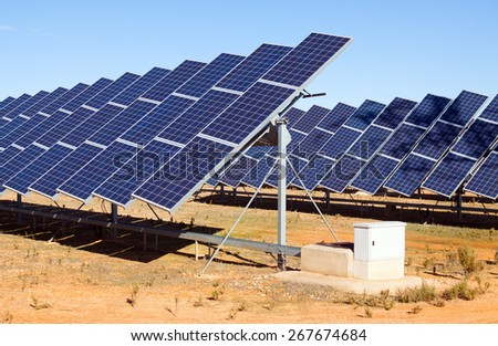 innovation technology of energy production: electric solar panel system - stock photo