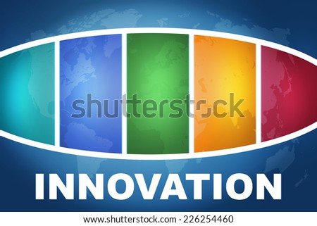 Innovation text illustration concept on blue background with colorful world map - stock photo