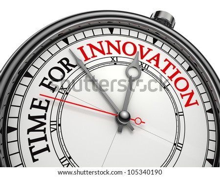 innovation time concept clock isolated on white background with clipping path - stock photo
