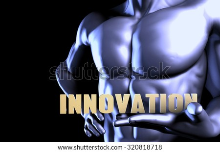Innovation With a Business Man Holding Up as Concept