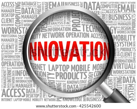 INNOVATION word cloud with magnifying glass, business concept 3D illustration - stock photo