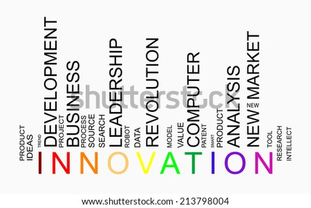 Innovation word concept in barcode with supporting words, modern, concept - stock photo
