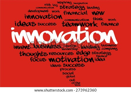 INNOVATION word on speech bubble with business concept