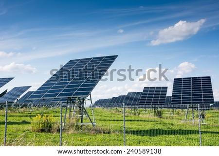 Innovative energy creation in a solar park. - stock photo