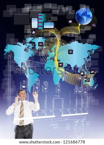 Innovative engineering designing internet communication - stock photo