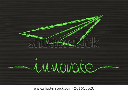 innovative ideas and creative thinking: metaphor illustration with paper airplane flying  - stock photo