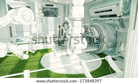Innovative medical MRI table / Futuristic hi-tech medical devices for diagnostic