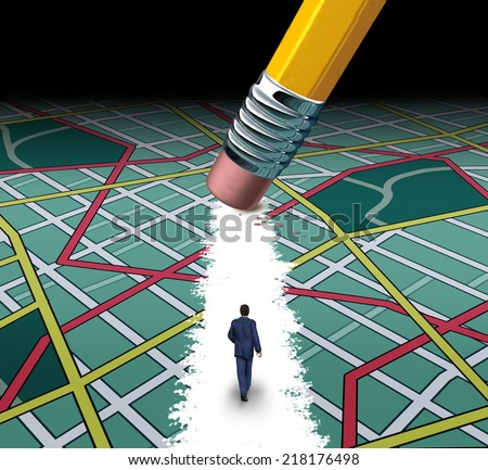 Innovative path and road to success concept as a businessman walking through a confusing highway map with a pencil eraser clearing a pathway to career or life success by cutting through the clutter. - stock photo