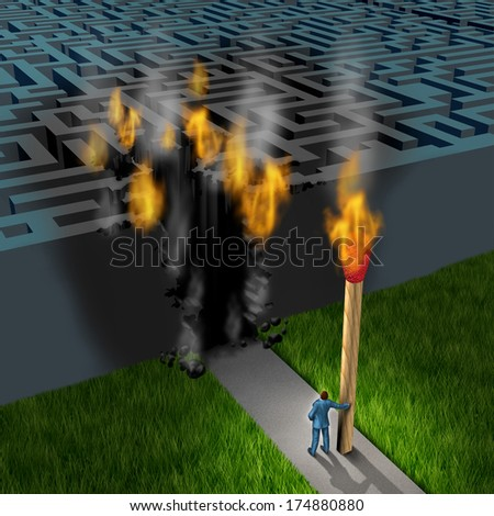 Innovative strategy business concept with a businessman holding a giant lit match burning an opening to enter a maze as a leadership and success metaphor for out of the box thinking of new solutions. - stock photo