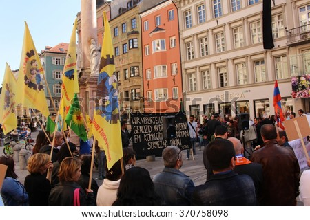 INNSBRUCK, AUSTRIA - APRIL 24, 2015: 1915 Medz Yeghern (Great Crime) commemorations by Armenians on Maria-Theresien Street.