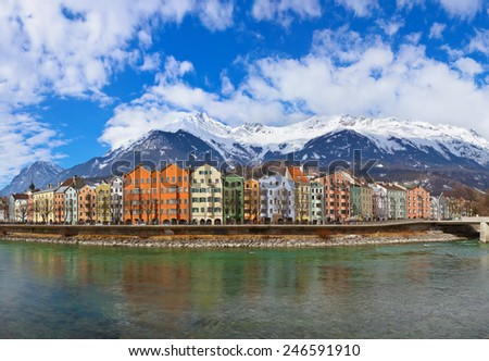 Innsbruck Austria - architecture and nature background - stock photo