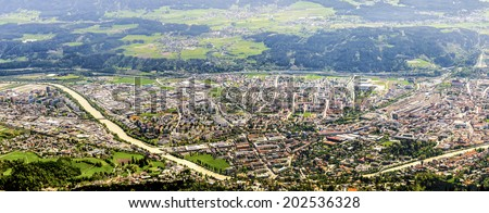 Innsbruck panorama. Aerial view on the city. - stock photo