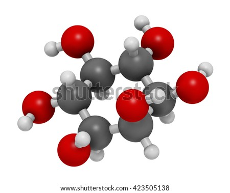 inositol (myo-inositol) molecule. 3D rendering.  Inositol and its phosphates play essential roles in a number of biological processes. Atoms are represented as spheres with conventional color coding. - stock photo