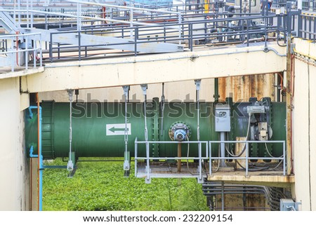 Input raw water pipeline to The Solid Contact Clarifier Tank type Sludge Recirculation process in Water Treatment plant - stock photo