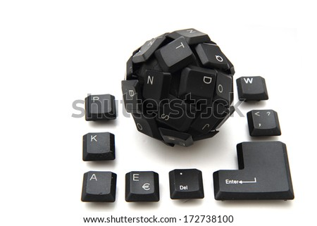 input sphere from black keyboard isolated on the white background - stock photo