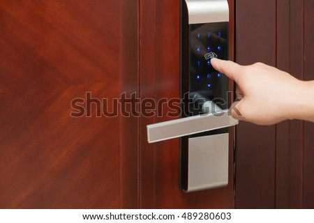 inputing passwords on an electronic door lock