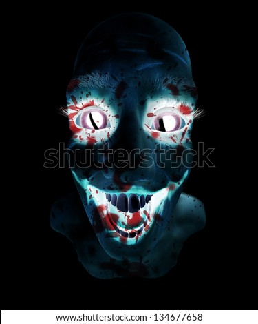 Insane bloody male face - stock photo