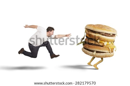 Insatiable fat man runs for catch sandwich - stock photo