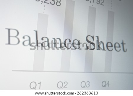 "Inscription ""Balance Sheet"" on PC screen. Financial concept. - stock photo"