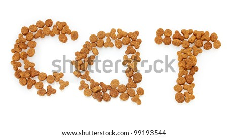 Inscription Cat of dry cat food isolated on white - stock photo