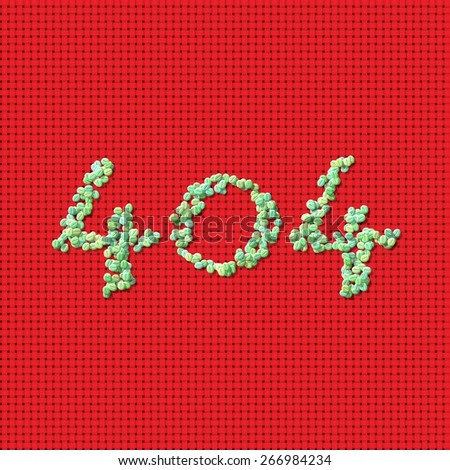 Inscription 404 composed of generated green coffee beans on red woven mat - stock photo