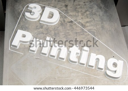 "inscription ""3d printing"", made on the 3d printer plastic pla"
