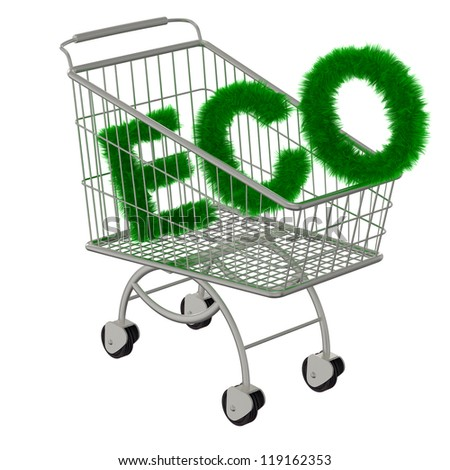 Inscription ECO in the supermarket cart. Isolated on a white