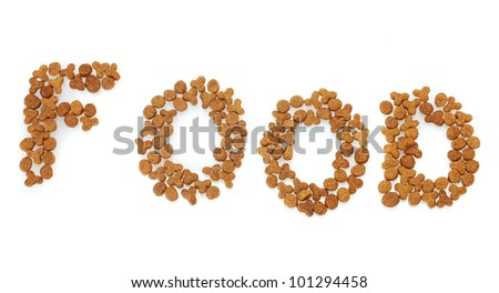 Inscription Food of dry cat food isolated on white - stock photo