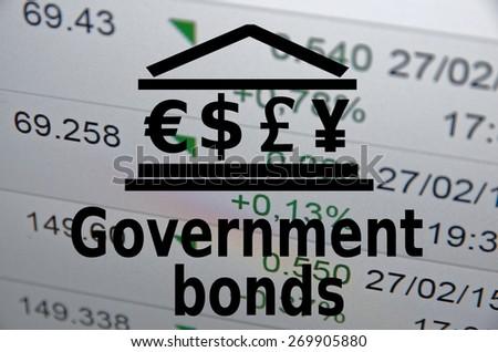 "Inscription ""Government bonds"". Financial concept. - stock photo"