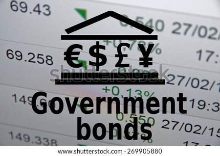 "Inscription ""Government bonds"". Financial data on background. - stock photo"