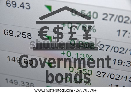 "Inscription ""Government bonds"". Trading software window on background. - stock photo"