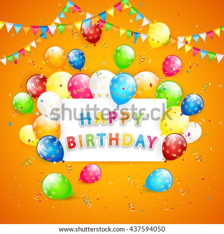 Inscription Happy Birthday with flying colorful balloons, multicolored pennants and confetti on orange background, illustration. - stock photo