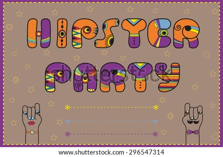 Inscription Hipster Party. Funny purple Letters with orange parts - stock photo
