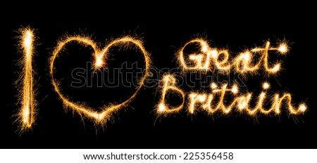 Inscription I love Great Britain made of sparkles on black background - stock photo