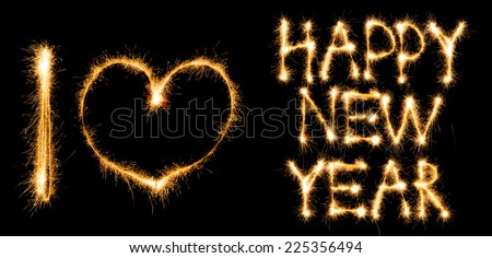Inscription I love Happy New Year made of sparkles on black background - stock photo