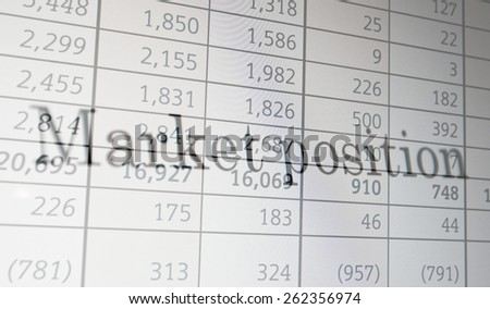 "Inscription ""Market position"" on PC screen. Financial concept. - stock photo"