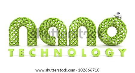 Inscription nanotechnology isolated on white background 3D - stock photo